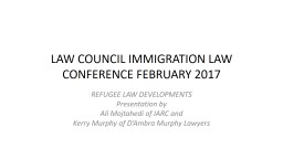 LAW COUNCIL IMMIGRATION LAW CONFERENCE FEBRUARY 2017