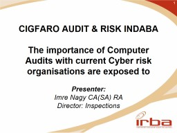 CIGFARO AUDIT & RISK INDABA PowerPoint PPT Presentation