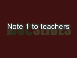 Note 1 to teachers