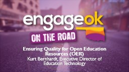 Ensuring Quality for Open Education Resources (OER)