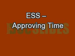 ESS – Approving Time