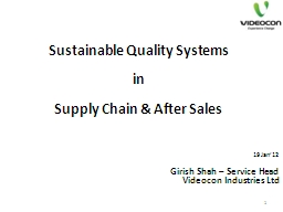1 Sustainable Quality Systems