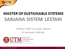MASTER OF SUSTAINABLE SYSTEMS