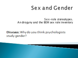 Sex and Gender PowerPoint PPT Presentation