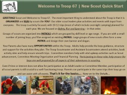 Welcome to Troop 67 | New Scout Quick Start