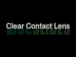 Clear Contact Lens