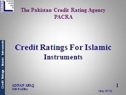 The Pakistan Credit Rating Agency