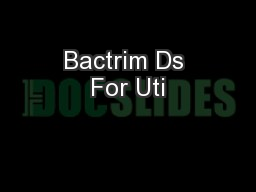 Bactrim Ds For Uti