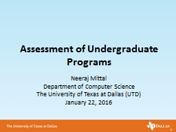 Assessment of Undergraduate Programs