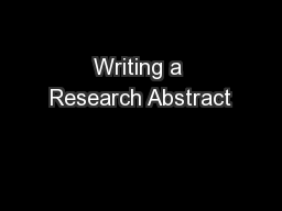 Writing a Research Abstract