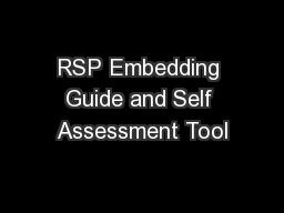 RSP Embedding Guide and Self Assessment Tool PowerPoint PPT Presentation