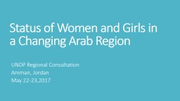 Status of Women and Girls in a Changing Arab Region PowerPoint PPT Presentation