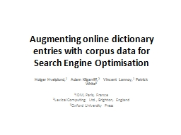 Augmenting online dictionary entries with corpus data for