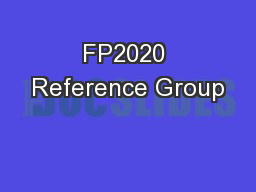 FP2020 Reference Group