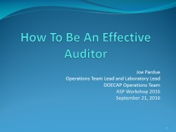 How To Be An Effective Auditor PowerPoint PPT Presentation