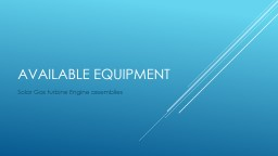 Available equipment