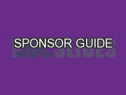 SPONSOR GUIDE PowerPoint PPT Presentation