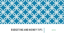 Budgeting and Money tips