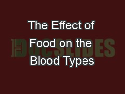 The Effect of Food on the Blood Types