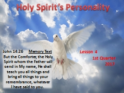 Holy Spirit's Personality
