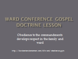 Ward Conference Gospel Doctrine Lesson