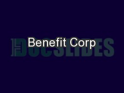 Benefit Corp