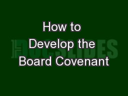 How to Develop the Board Covenant