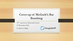 Cover-up of McGurk's Bar Bombing