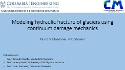 Modeling hydraulic fracture of glaciers using continuum dam