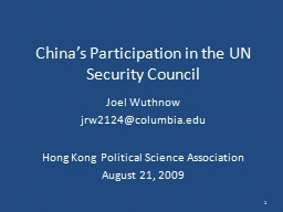 China's Participation in the UN Security Council PowerPoint PPT Presentation