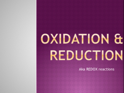 Oxidation & Reduction PowerPoint PPT Presentation