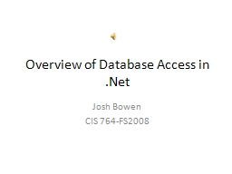 Overview of Database Access in