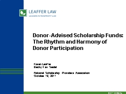 Donor-Advised Scholarship Funds: PowerPoint PPT Presentation