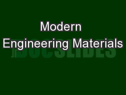 Modern Engineering Materials