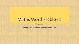 Maths Word Problems PowerPoint PPT Presentation