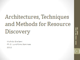 Architectures, Techniques and Methods for Resource Discover