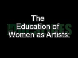 The Education of Women as Artists:
