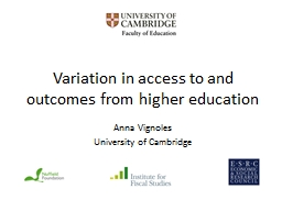 Variation in access to and outcomes from higher education