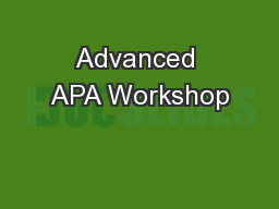 Advanced APA Workshop