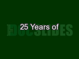 25 Years of