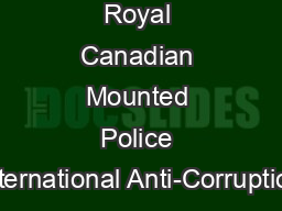 Royal Canadian Mounted Police International Anti-Corruption