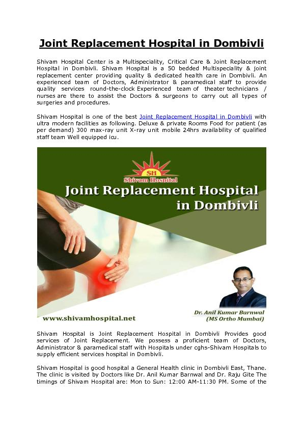 Joint Replacement Hospital in Dombivli