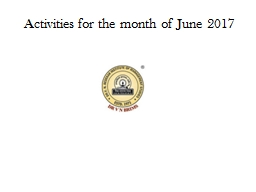 Activities for the month of June 2017