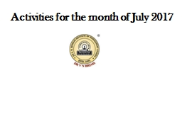 Activities for the month of July