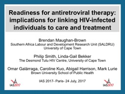 Readiness for antiretroviral therapy: implications for link