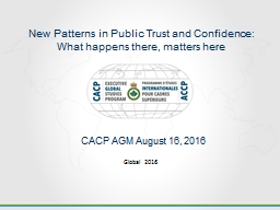 New Patterns in Public Trust and Confidence: