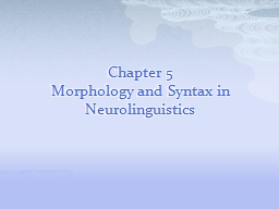 Chapter 5 Morphology and Syntax in Neurolinguistics