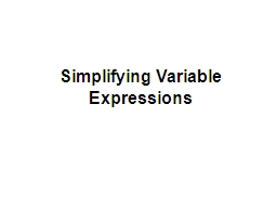 Simplifying Variable Expressions