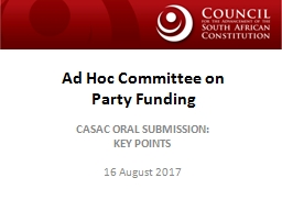 Ad Hoc Committee on  Party Funding