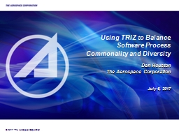 Using TRIZ to Balance Software Process Commonality and Diversity